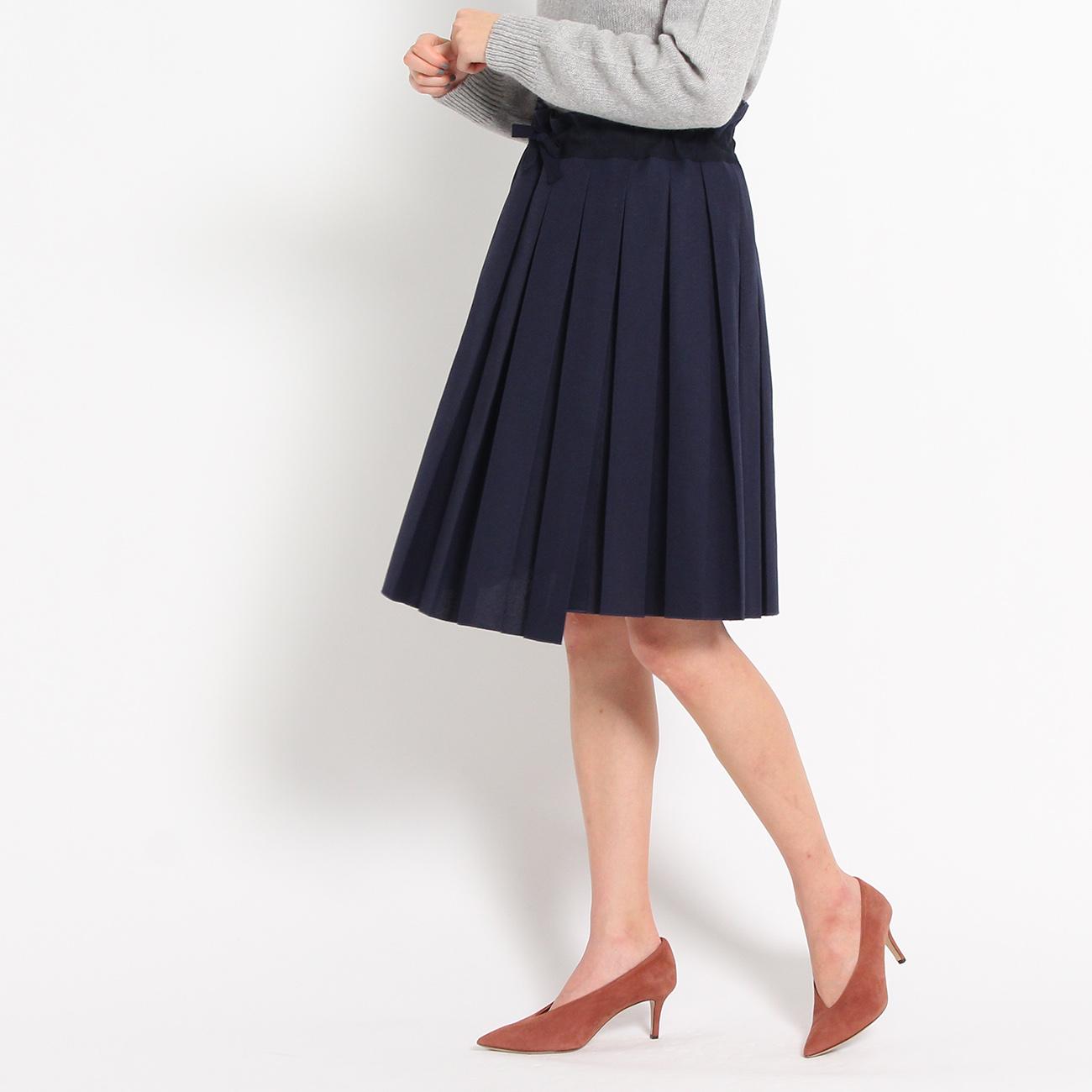 【DRESSTERIOR (ドレステリア レディースバイイング)】SOFIE D'HOORE イレギュラーヘムプリーツスカートレディース スカート|ひざ丈 ネイビー