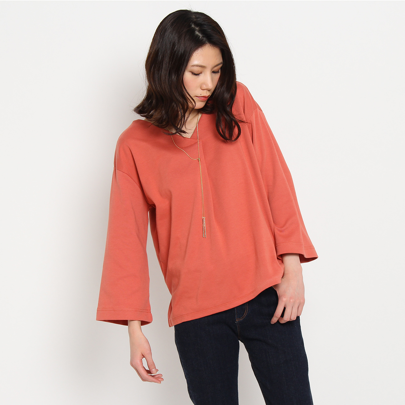 【THE SHOP TK(Ladies) (ザ ショップ ティーケー(レディース))】吸水速乾重ねVポンチプルオーバーレディース トップス カットソー・Tシャツ オレンジ
