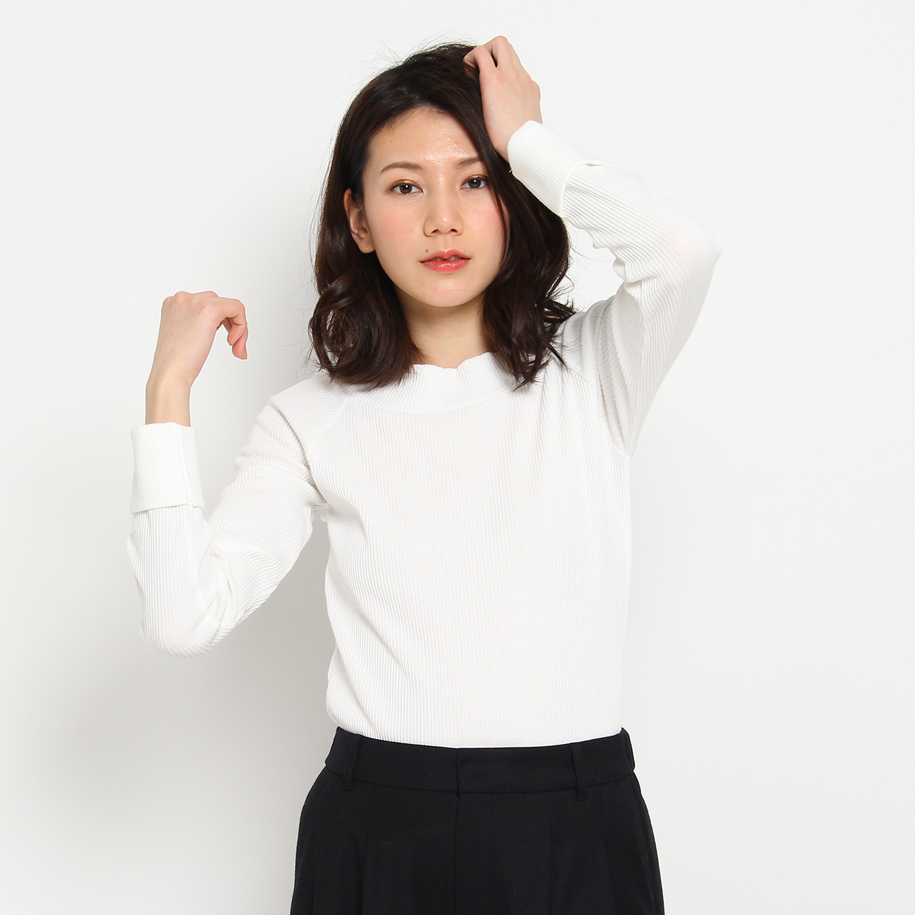 【THE SHOP TK(Ladies) (ザ ショップ ティーケー(レディース))】【吸水速乾】2WAYオフショルダープルオーバーレディース トップス カットソー・Tシャツ オフホワイト