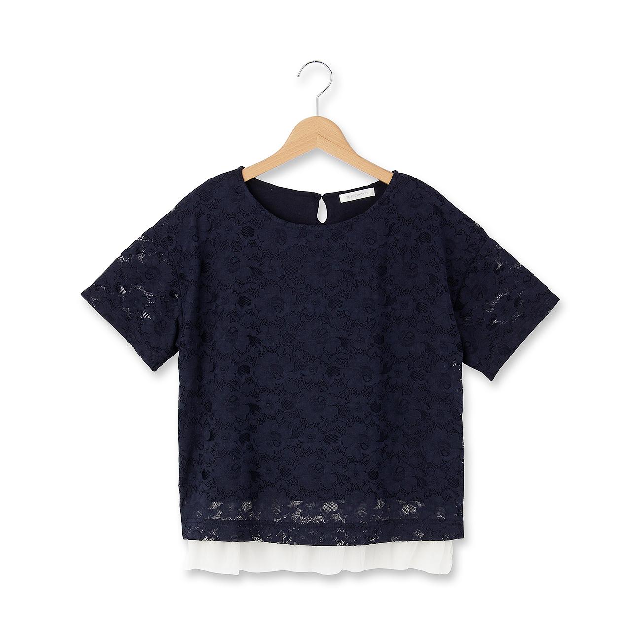 【THE SHOP TK(Ladies) (ザ ショップ ティーケー(レディース))】レイヤード風レースカットソーレディース トップス カットソー・Tシャツ ネイビー