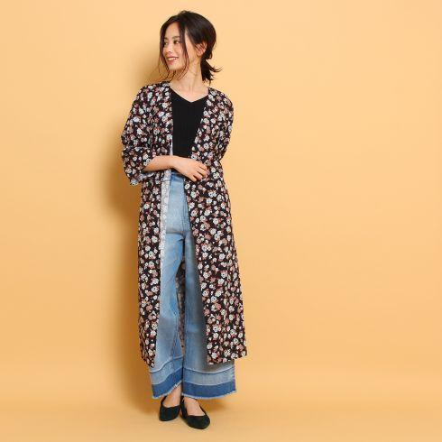 【THE SHOP TK(Women) (ザ ショップ ティーケー(ウィメン))】カシュクール花柄ワンピースレディース ワンピース ワンピース ダークブラウン
