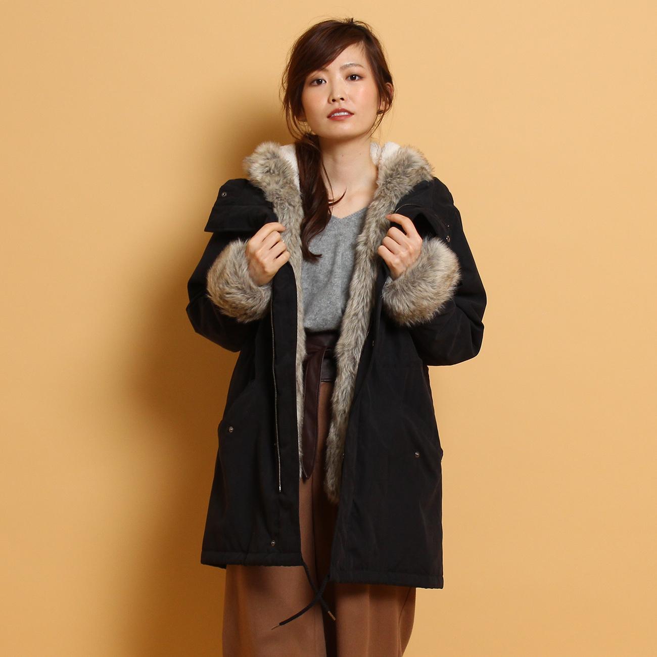 【THE SHOP TK(Ladies) (ザ ショップ ティーケー(レディース))】【保温機能】モッズコートレディース コート モッズ・フィールドコート ブラック