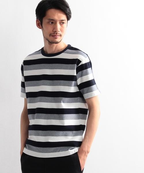 ヘリンボン柄パネルボーダー Tシャツ