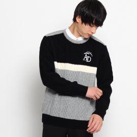 <ワールド> 切替配色丸首セーター