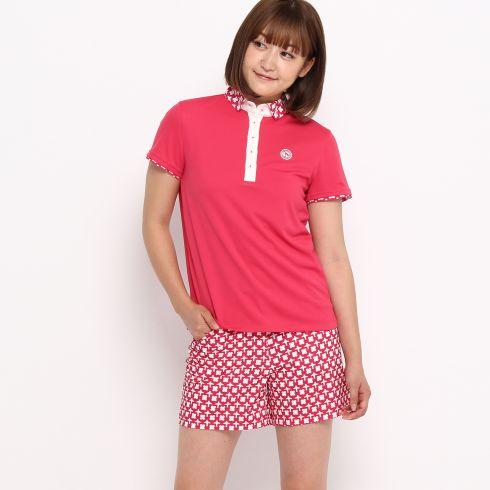 【adabat (アダバット)】クールコア(R)切り替えデザインポロシャツレディース トップス|ポロシャツ ピンク系