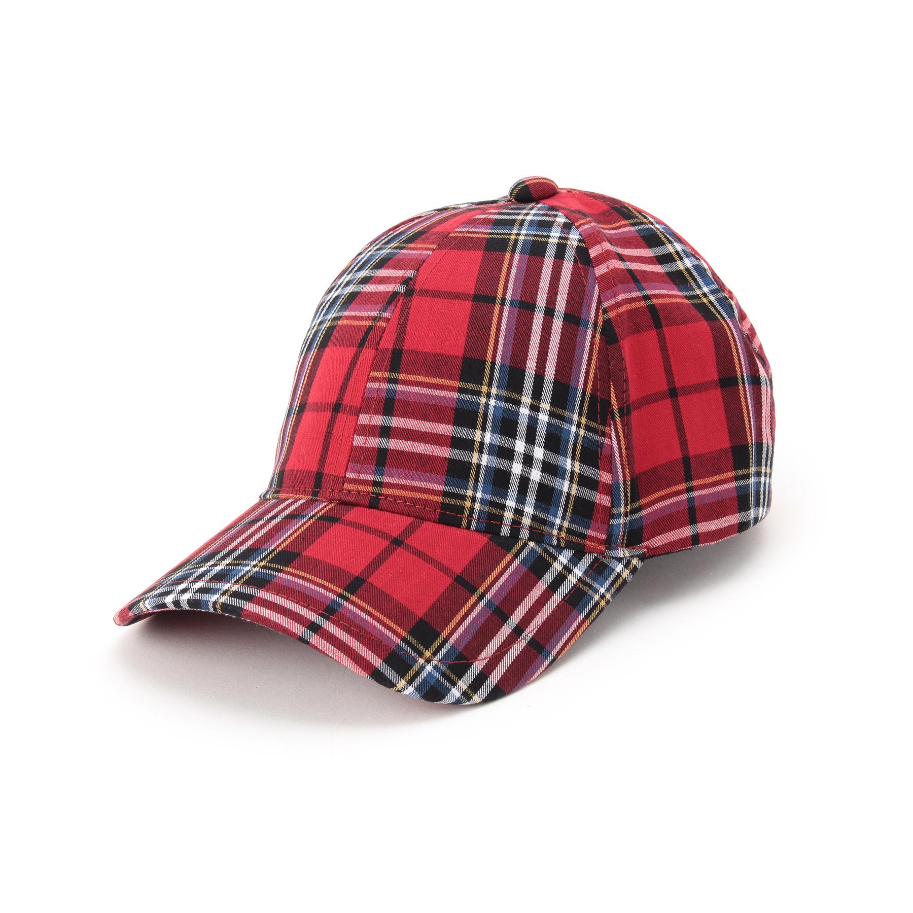 【OZOC (オゾック)】チェック柄キャップレディース 帽子|キャップ レッド