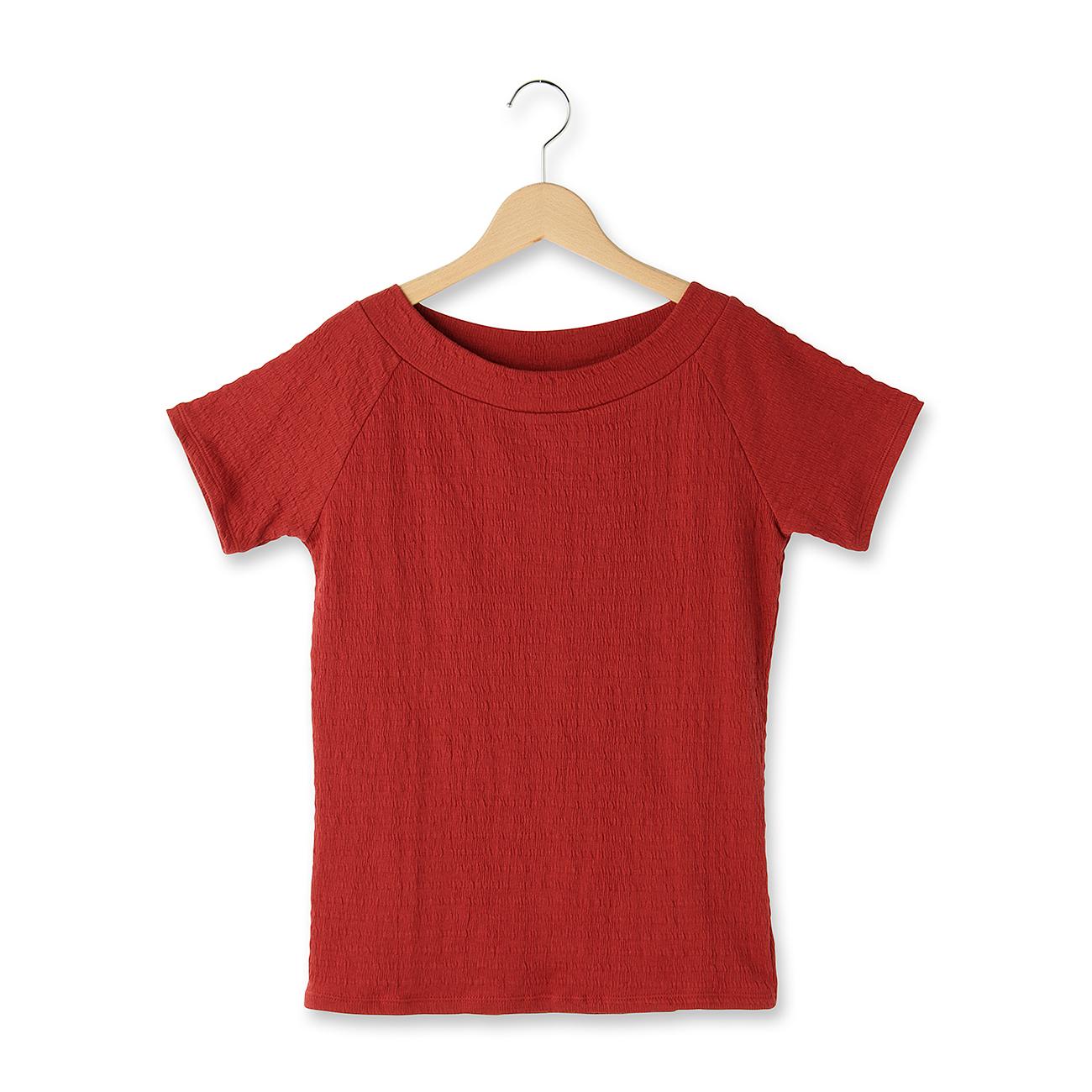 【OZOC (オゾック)】織り柄ボートネックカットソーレディース トップス|カットソー・Tシャツ ダークオレンジ