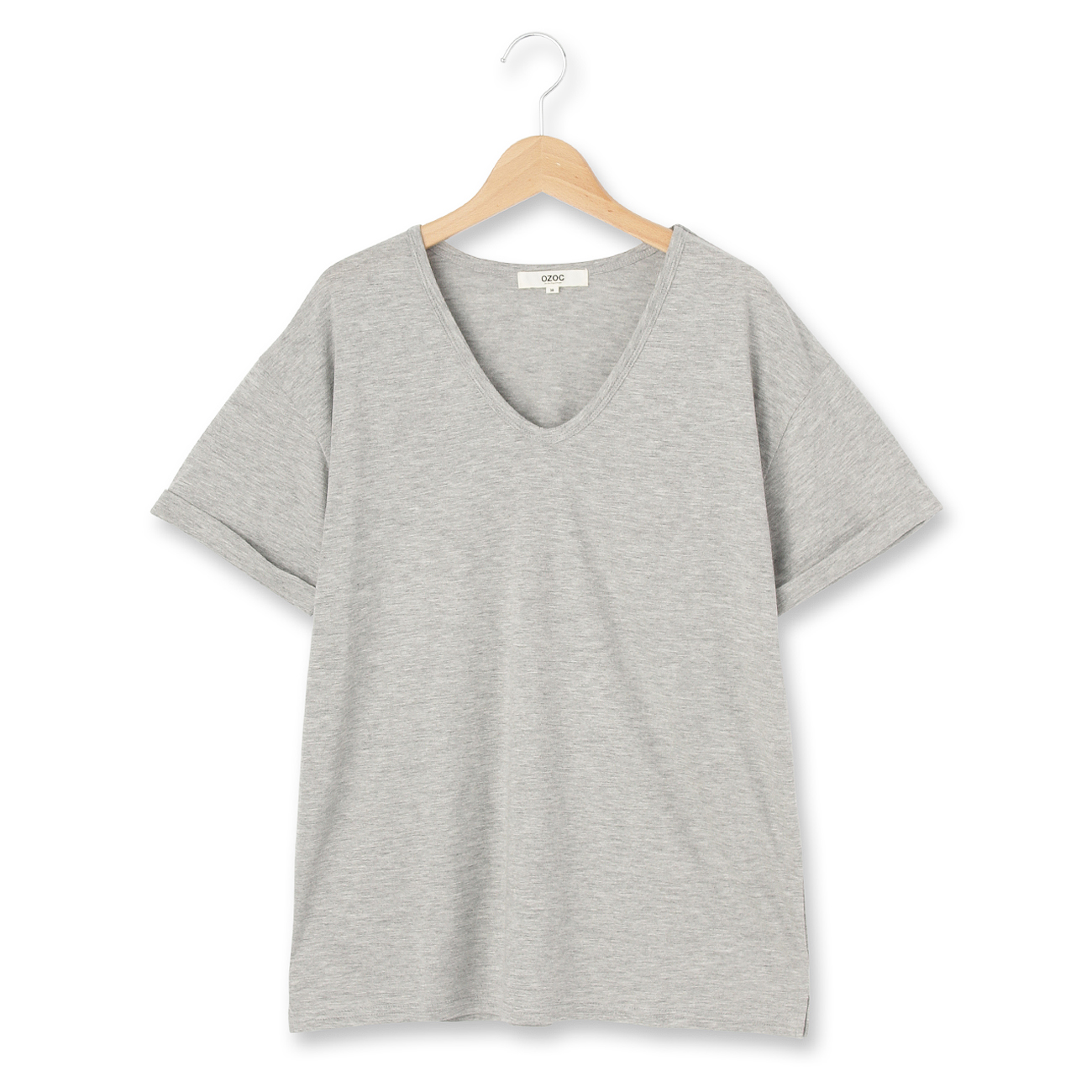 【OZOC (オゾック)】Vネックベーシックプルオーバーレディース トップス|カットソー・Tシャツ グレー
