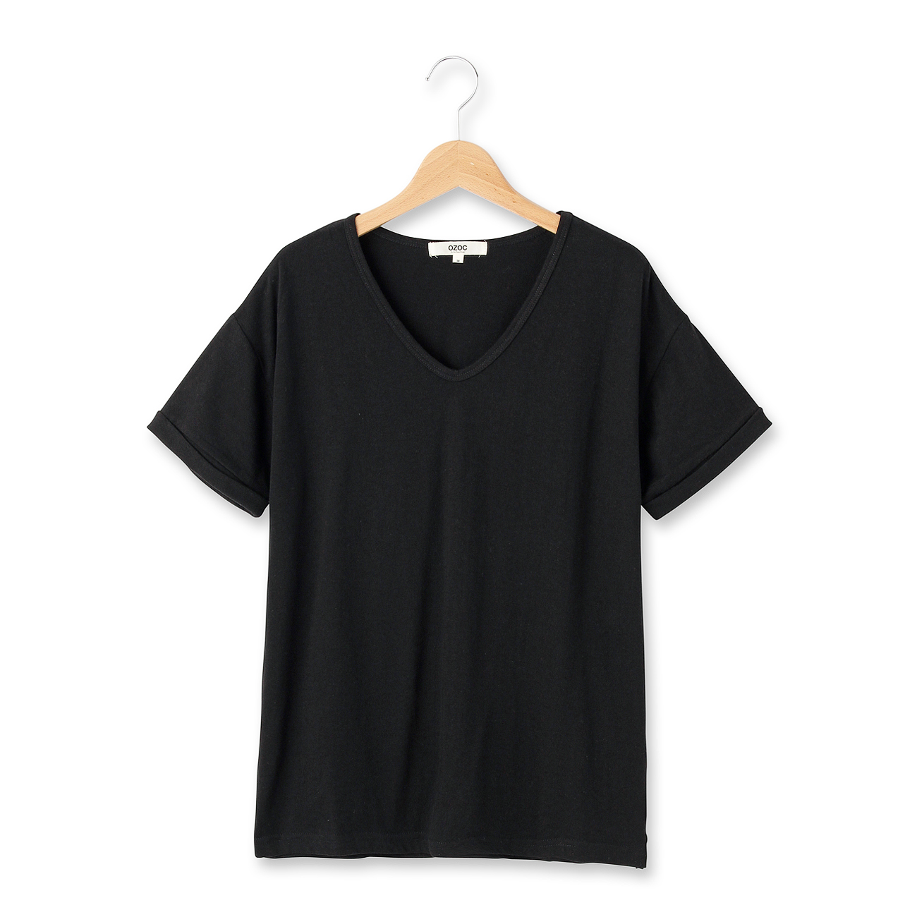 【OZOC (オゾック)】Vネックベーシックプルオーバーレディース トップス|カットソー・Tシャツ ブラック