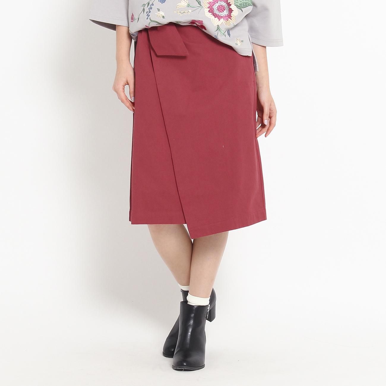 【OZOC (オゾック)】ラップ風リボンスカートレディース スカート ミモレ丈(ひざ下) ワインレッド