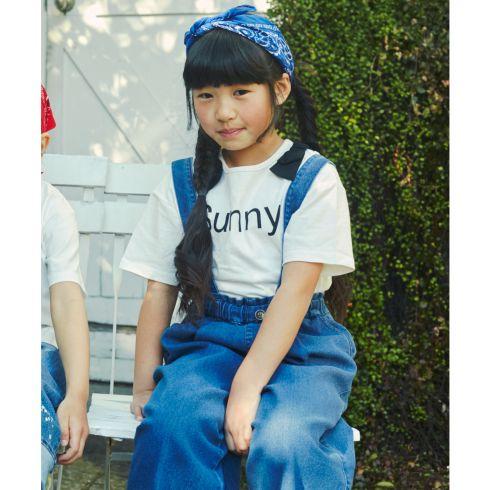 【THE SHOP TK(Kids) (ザ ショップ ティーケー(キッズ))】サス付ワイドデニムキッズ パンツ|オールインワン・サロペット ブルー