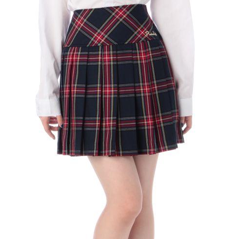 ネックリボン付きチェック柄スカート