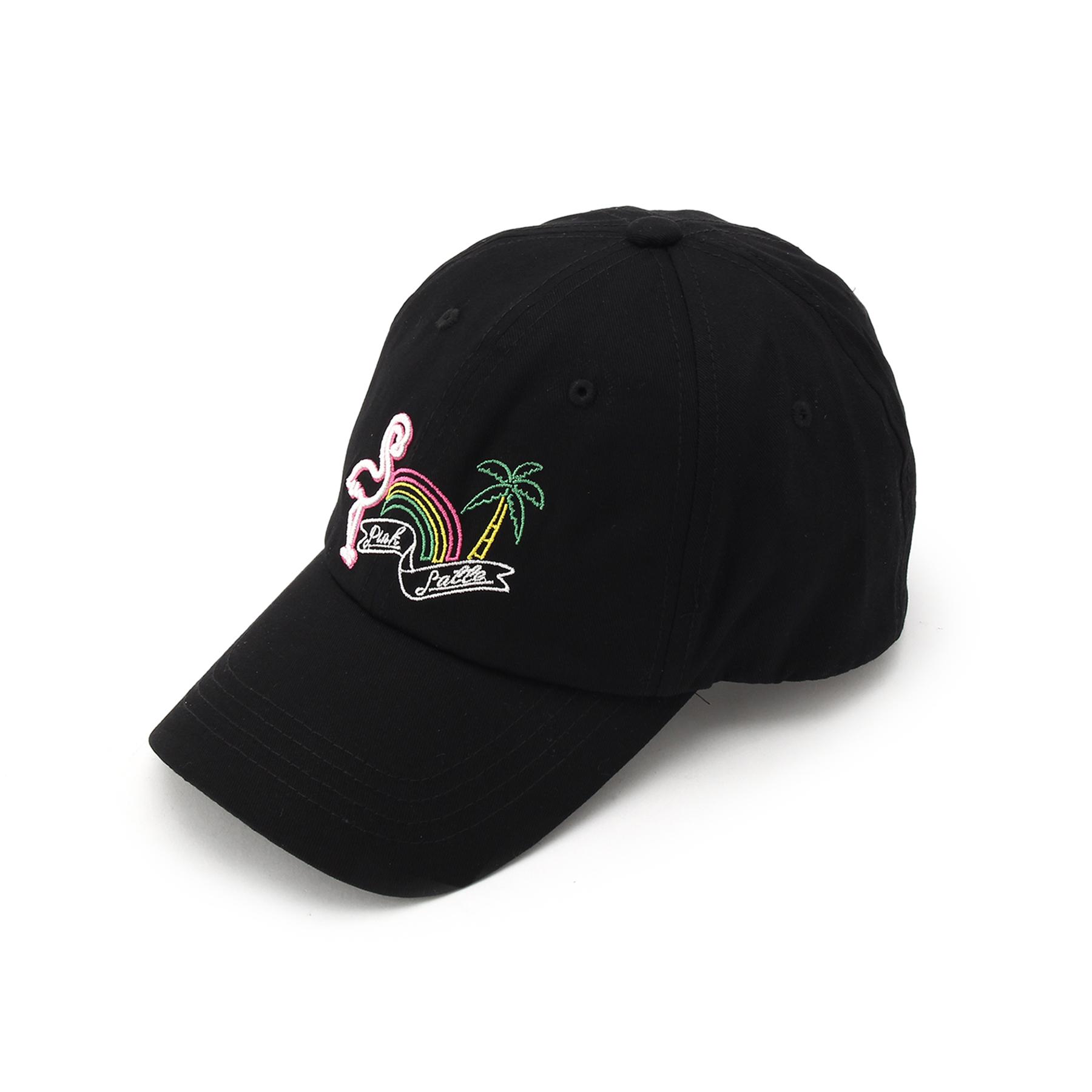 【PINK-latte (ピンク ラテ)】ネオン刺しゅう キャップティーンズ 帽子|キャップ ブラック