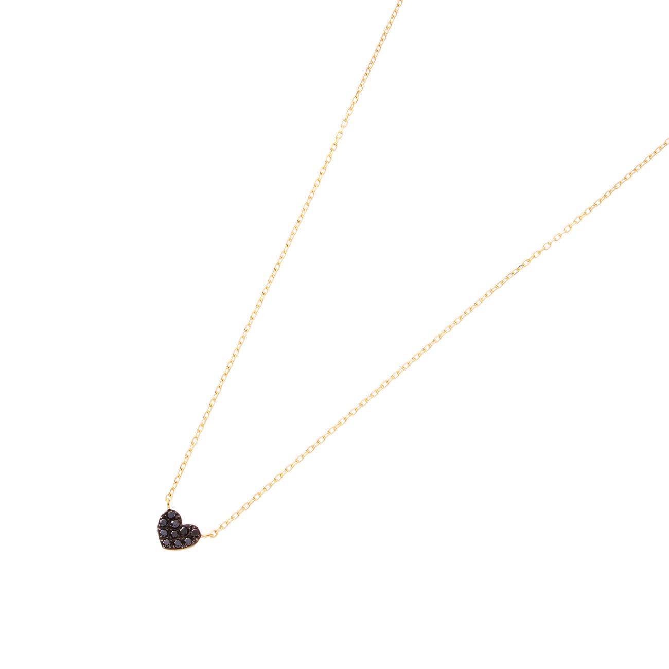 【COCOSHNIK (ココシュニック)】ブラックダイヤハート ネックレスレディース ジュエリー|ネックレス イエローゴールド