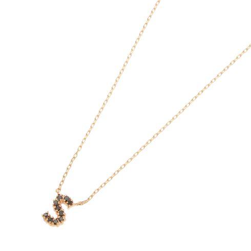 ブラックダイヤモンド イニシャルネックレス S