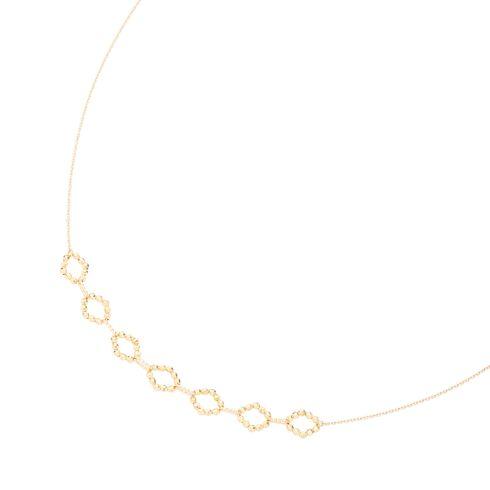 (K18)ミラーボール オーバル×7 ネックレス