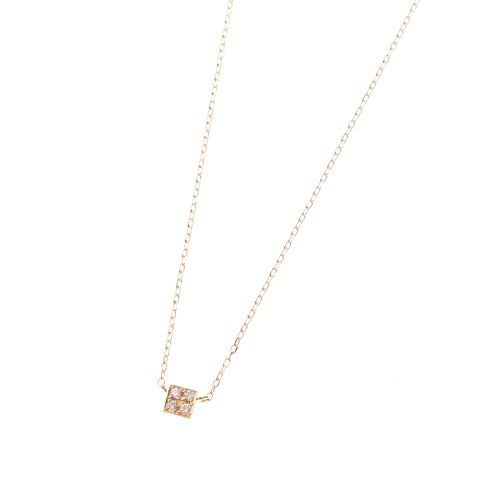 ダイヤモンド キューブモチーフ ネックレス小
