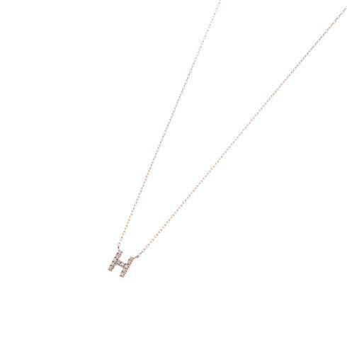 ダイヤモンド イニシャルネックレス H