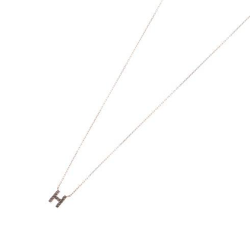 ブラックダイヤモンド イニシャルネックレス H
