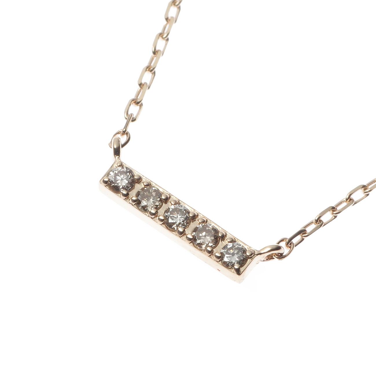 【COCOSHNIK (ココシュニック)】レクタングルダイヤモンド横バー ネックレスレディース ジュエリー|ネックレス イエローゴールド
