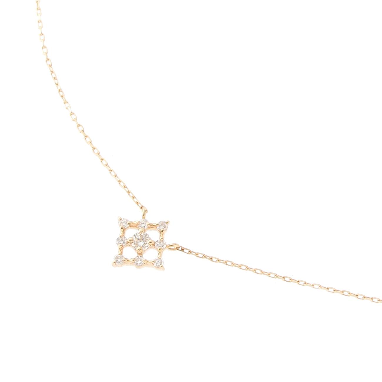 【COCOSHNIK (ココシュニック)】ダイヤモンド 透かし取巻きスクエア ネックレスレディース ジュエリー|ネックレス イエローゴールド