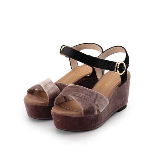 【Couture brooch (クチュールブローチ)】ベルベットクロスサンダルレディース シューズ サンダル・ミュール ベージュ系