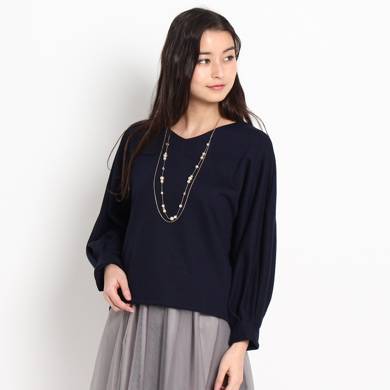 【Couture brooch (クチュールブローチ)】【WEB限定・80%OFF】サカリバボリュームスリーブカットソーレディース トップス カットソー・Tシャツ ブルー系