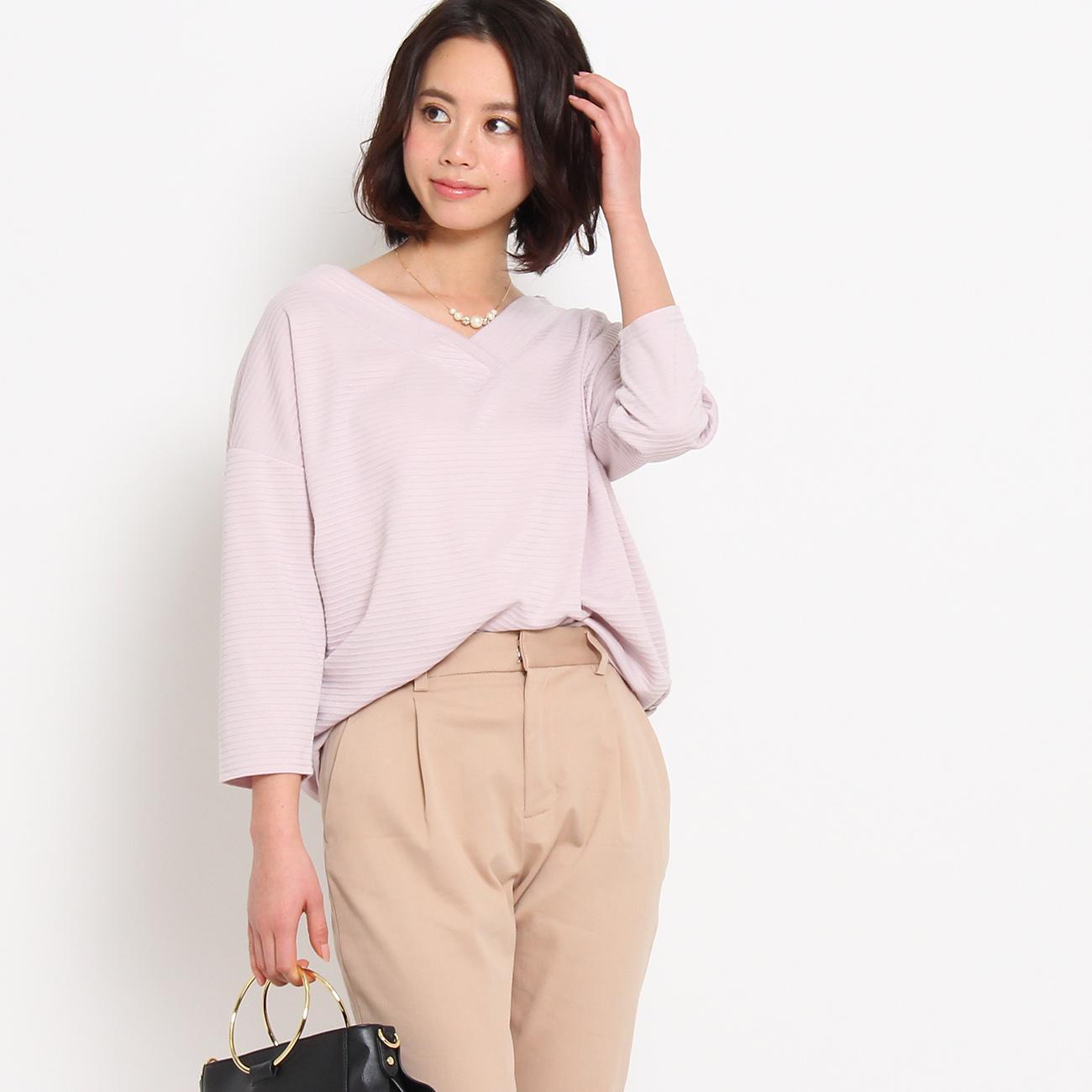 【Couture brooch (クチュールブローチ)】リップルボーダーカットソーレディース トップス カットソー・Tシャツ ピンク系