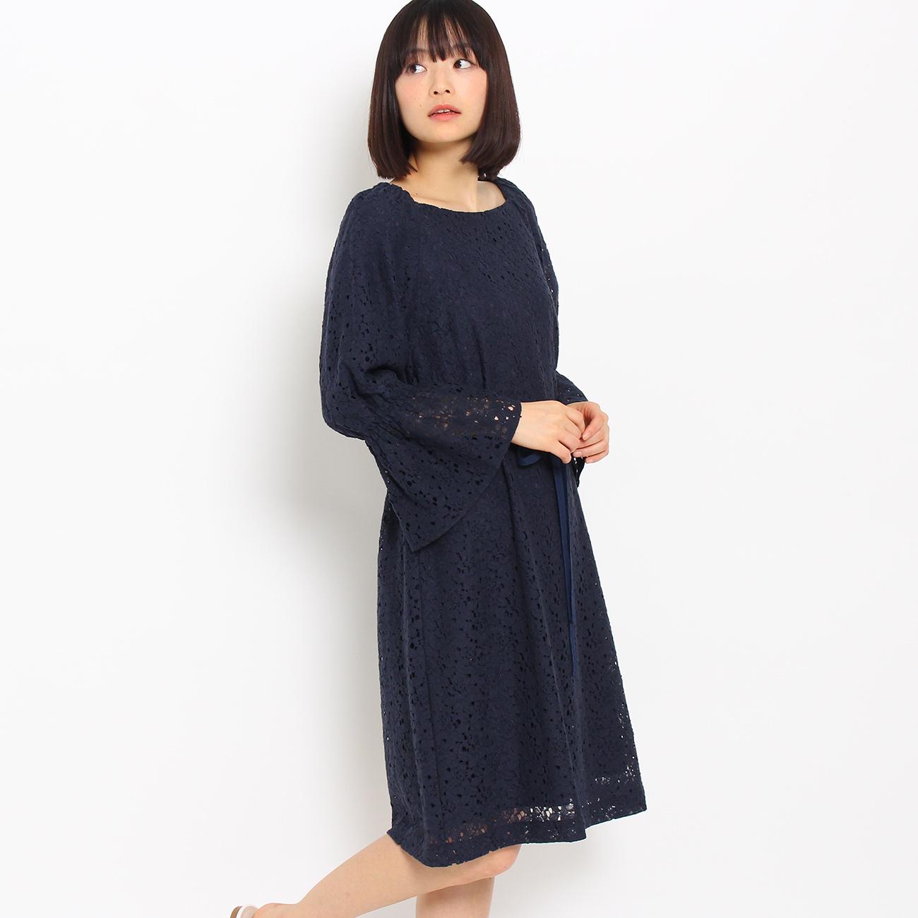 【Couture brooch (クチュールブローチ)】【WEB限定プライス】フレアスリーブレースワンピースレディース ワンピース|ワンピース ブルー系
