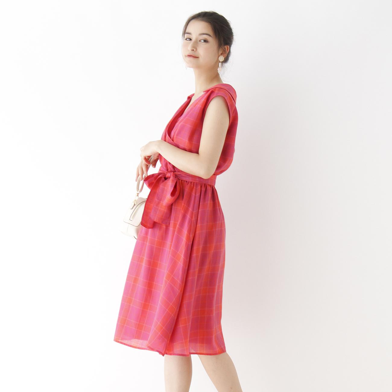 【Couture brooch (クチュールブローチ)】カシュクールチェック柄ワンピースレディース ワンピース ワンピース ラズベリーピンク