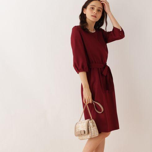 【Couture brooch (クチュールブローチ)】カシュクール風ワンピースレディース ワンピース|ワンピース ブルー系