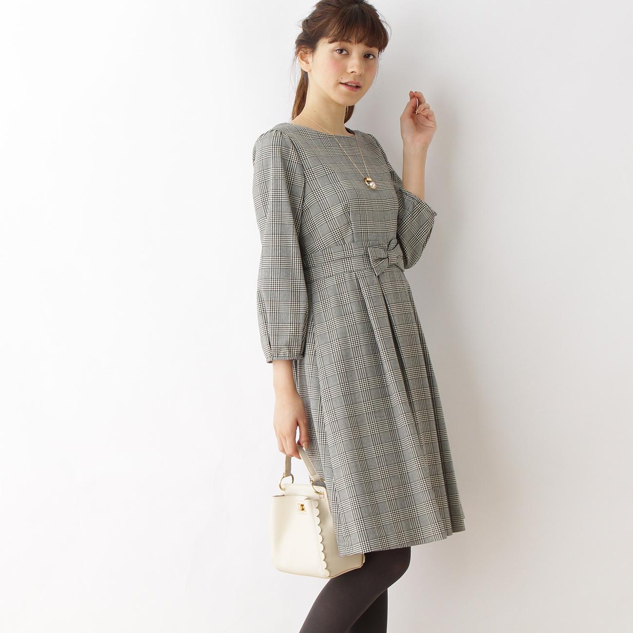 【Couture brooch (クチュールブローチ)】【WEB限定プライス】【WEB限定サイズ(S・LL)あり】ウエストリボンワンピースレディース ワンピース ワンピース グレー