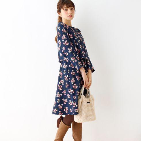 【Couture brooch (クチュールブローチ)】フラワープリントワンピースレディース ワンピース|ワンピース ブルー系