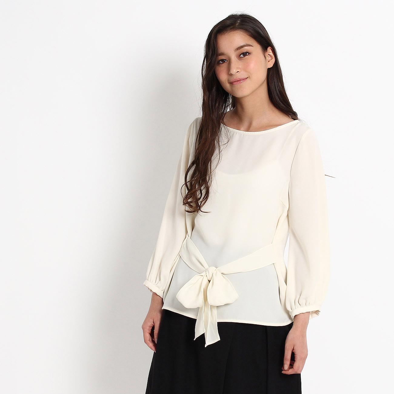 【Couture brooch (クチュールブローチ)】フロントリボンブラウスレディース トップス|シャツ・ブラウス オフホワイト