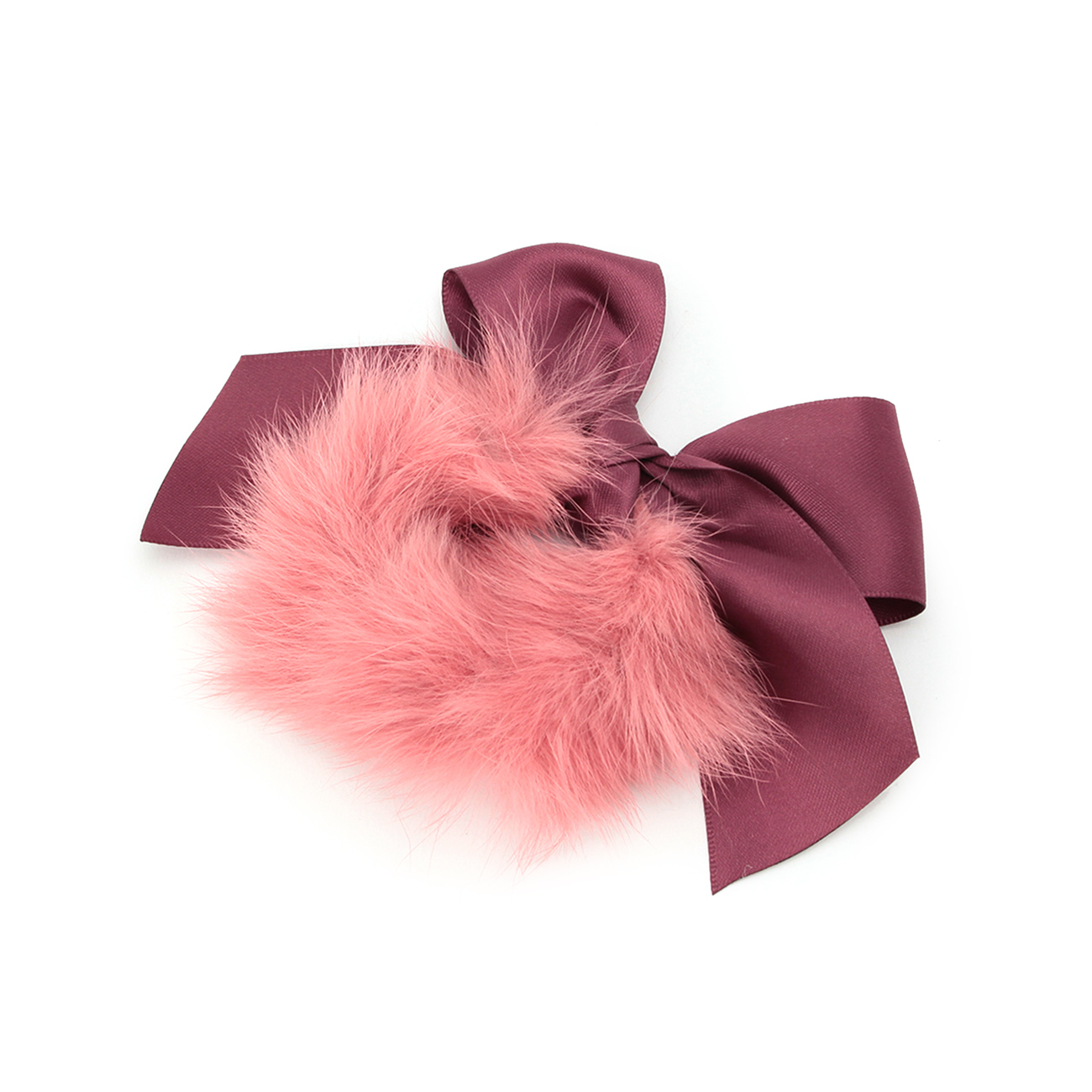 【Couture brooch (クチュールブローチ)】ファーリボンヘアゴムレディース ヘアアクセサリー ヘアゴム・シュシュ ピンク