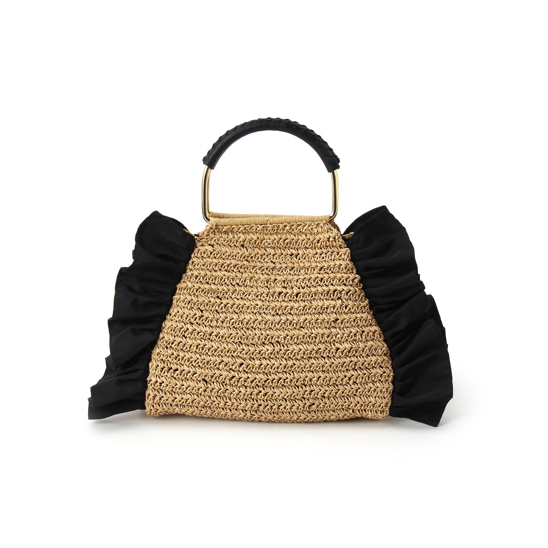 【Couture brooch (クチュールブローチ)】【WEB限定販売】サイドフリルカゴバッグレディース バッグ|ハンドバッグ ブラック