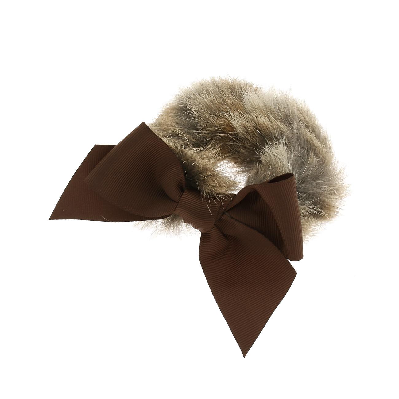 【Couture Brooch (クチュールブローチ)】リボンモチーフリアルファーシュシュレディース ヘアアクセサリー|ヘアゴム・シュシュ ブラウン