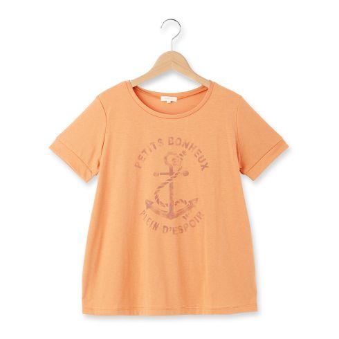 【HusHusH (ハッシュアッシュ)】◆かすれプリントラウンドネックTシャツレディース トップス|カットソー・Tシャツ ブルー系