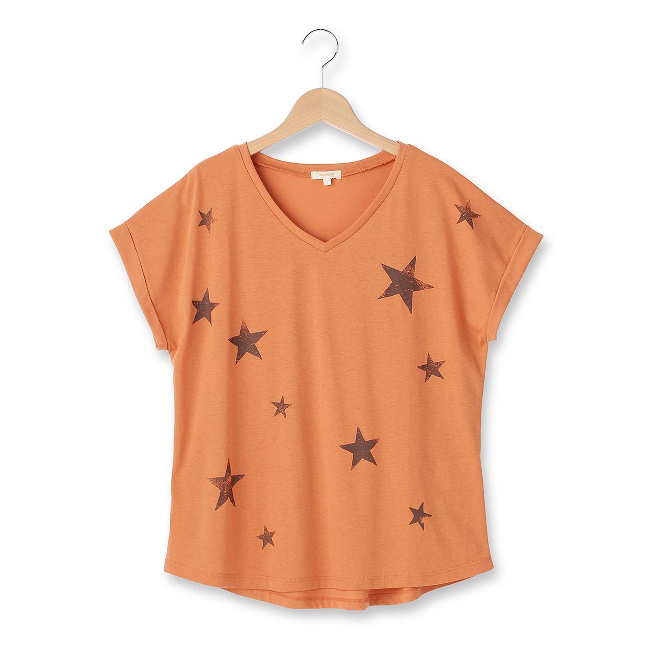 【HusHusH (ハッシュアッシュ)】◆スタープリントTシャツレディース トップス|カットソー・Tシャツ キャメル