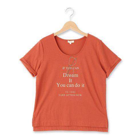 【HusHusH (ハッシュアッシュ)】メガネモチーフロゴプルオーバーレディース トップス|カットソー・Tシャツ ダークオレンジ