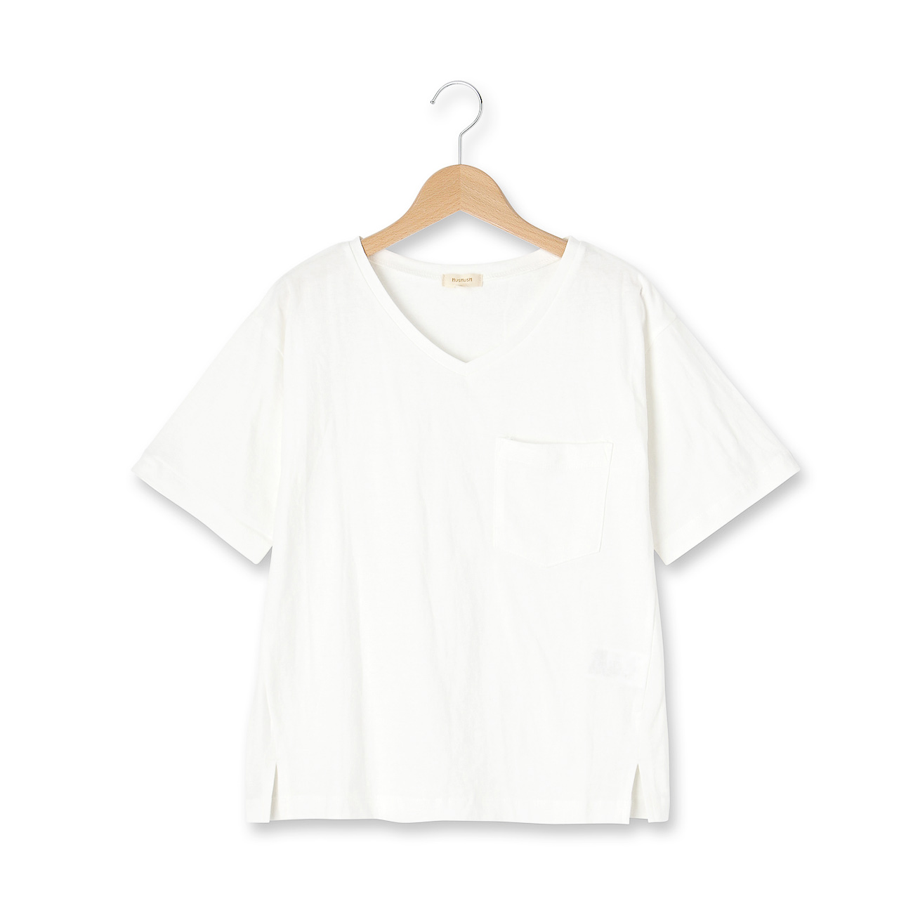 【HusHusH (ハッシュアッシュ)】Vネックポケット付きプルオーバーレディース トップス|カットソー・Tシャツ オフホワイト