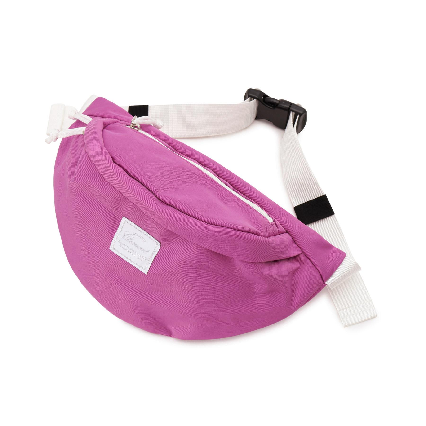 【HusHusH (ハッシュアッシュ)】ファスナーポケット付きウェストポーチレディース バッグ|ウエストポーチ ラズベリーピンク