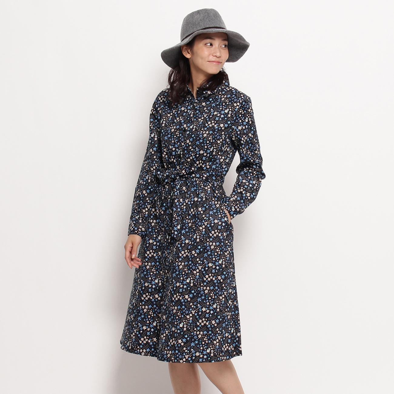 【3can4on(Ladies) (サンカンシオン)】小花柄レトロシャツワンピースレディース ワンピース|ワンピース ブラック