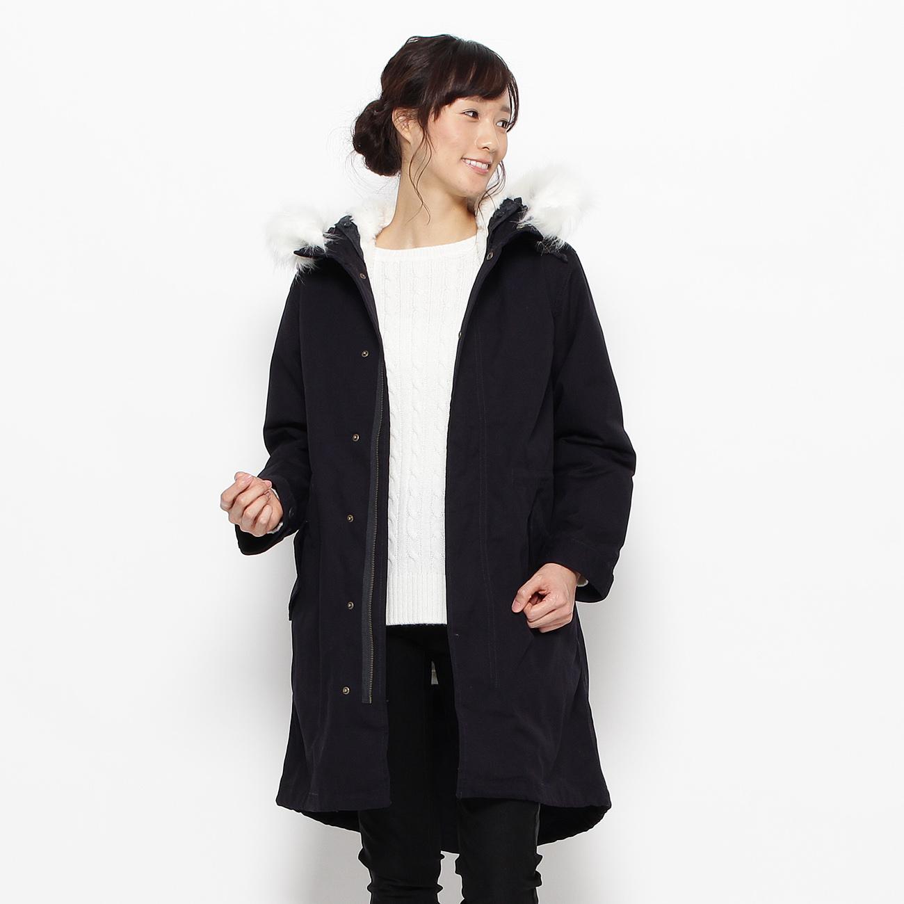 【3can4on(Ladies) (サンカンシオン)】モッズコートレディース コート モッズ・フィールドコート ブルー系