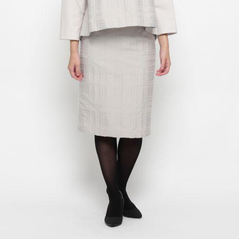 【Modify (モディファイ)】リングチェックタイトスカートレディース スカート|ミモレ丈(ひざ下) グレー