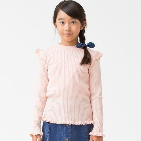 【3can4on(Kids) (サンカンシオン)】フリルリブニットキッズ トップス セーター ピンク系
