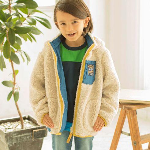 【3can4on(Kids) (サンカンシオン)】【リバーシブル】モコフリース&プリントブルゾンキッズ コート|ブルゾン(ジャンパー) オフホワイト