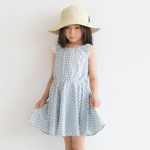 【3can4on(Kids) (サンカンシオン)】かすれギンガムワンピースキッズ ワンピース|ワンピース ピンク
