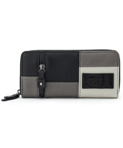 カラーブロック長財布