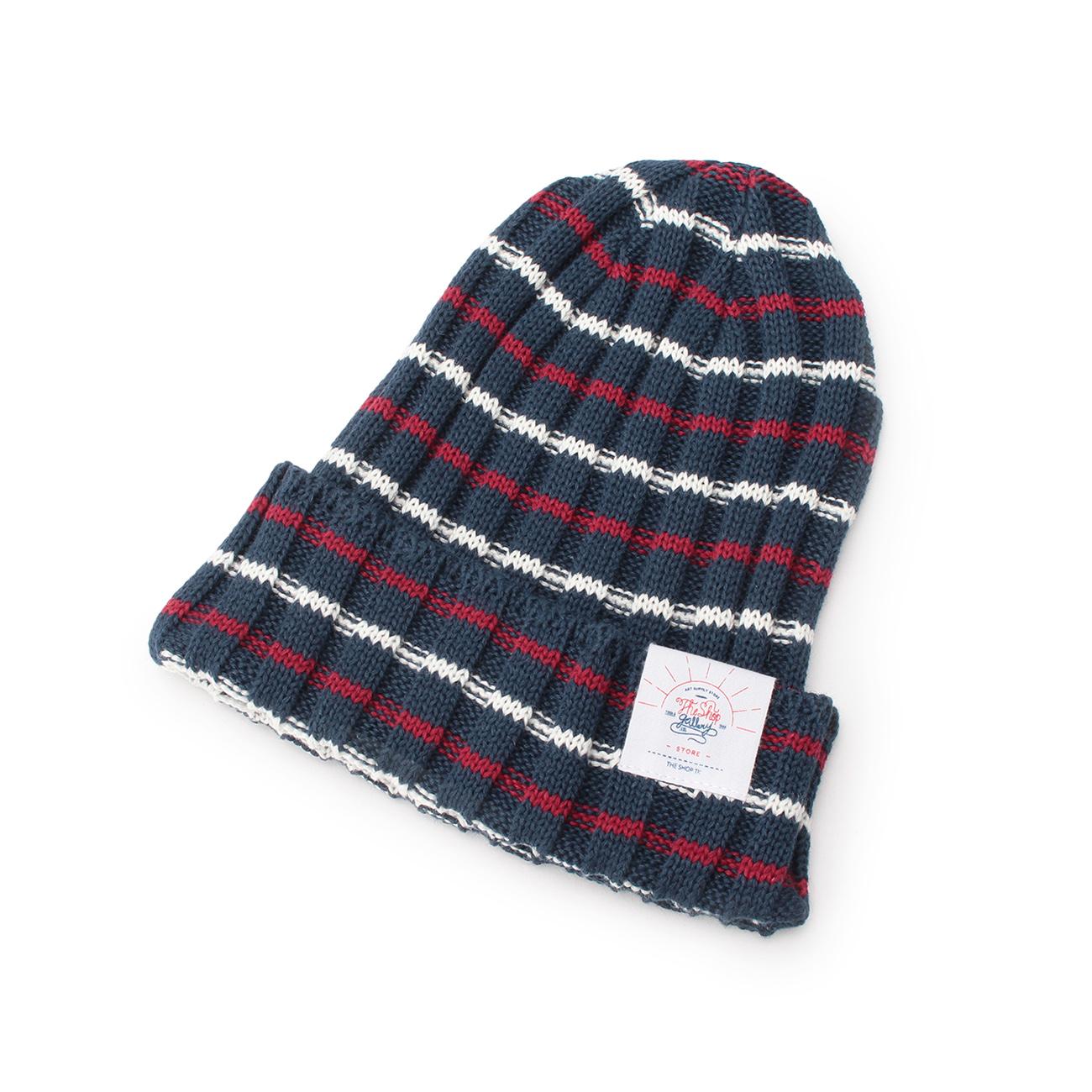 【THE SHOP TK(Men) (ザ ショップ ティーケー(メンズ))】コットンリネンボーダービーニー帽メンズ 帽子|ハット ネイビー